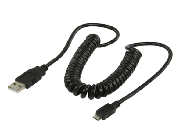 CABLE USB V2 MICRO USB B MALE > A MALE 2 M SPIRALE